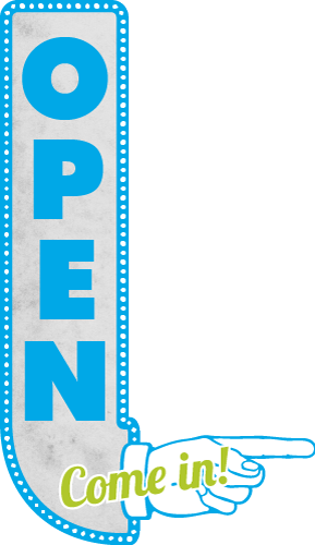 Image of an 'Open; Come in' sign